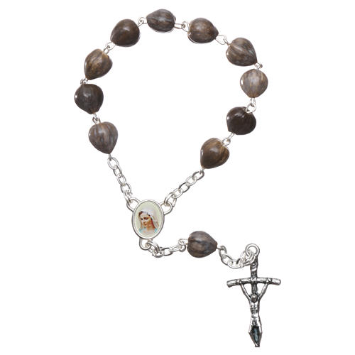 Medjugorje decade Job's Tears, chain with cross 3.5x1.5 cm 1