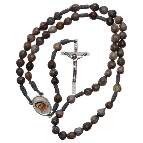 Medjugorje rosary Job's Tears, grey rope and cross 4