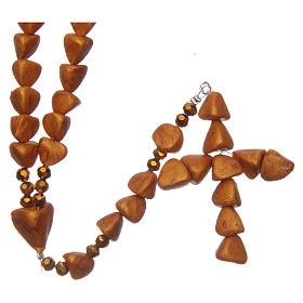 Chapelets et boîte chapelets: Chapelet Médjugorje céramique cuite couleur ocre foncé grains coeur 8 mm