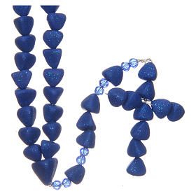 Chapelets et boîte chapelets: Chapelet Médjugorje céramique cuite bleu outremer grains 8  mm