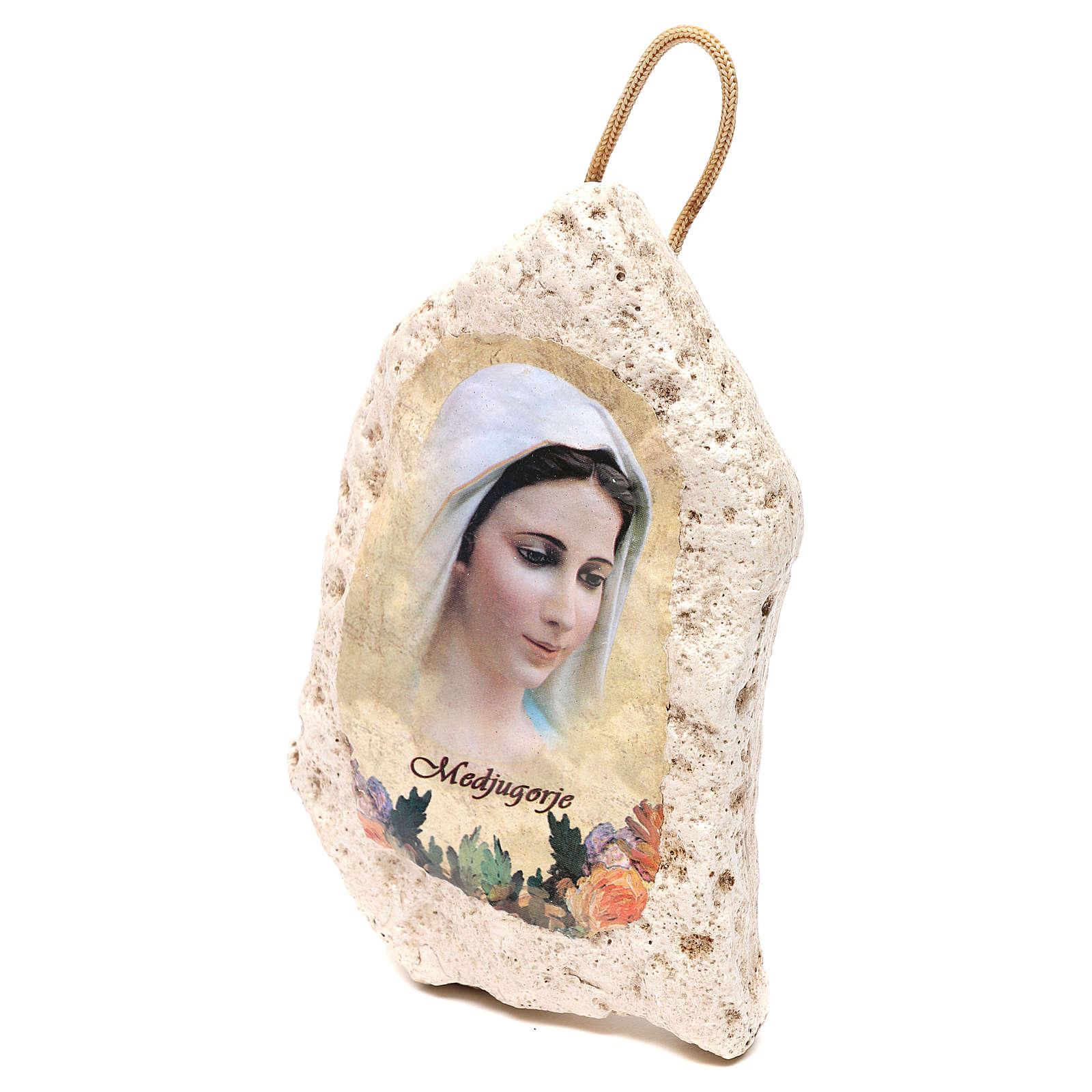 Imagen de yeso de la Virgen de Medjugorje 13x9 cm 4
