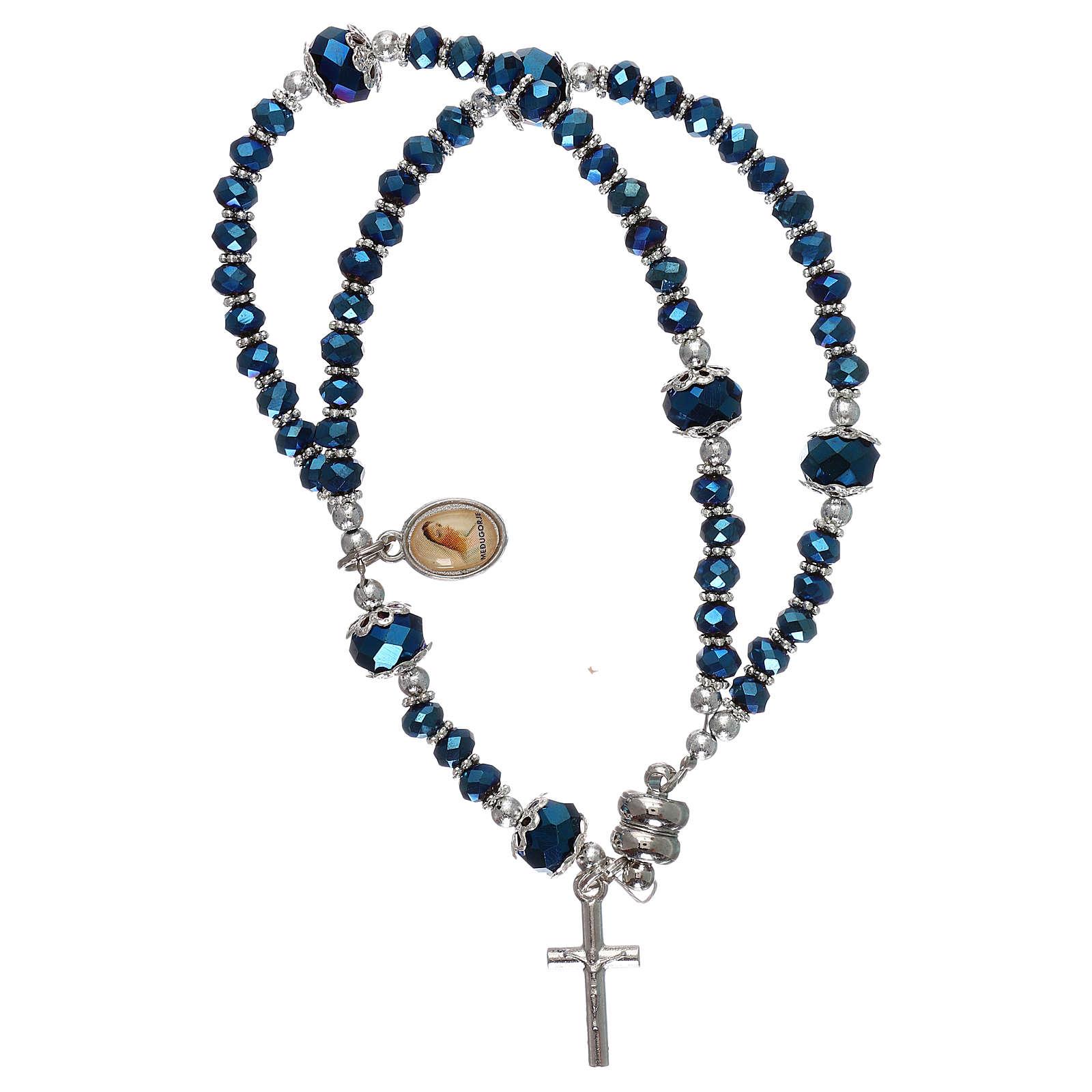 Pulsera azul Medjugorje cristal y metal con cruz y medalla 4