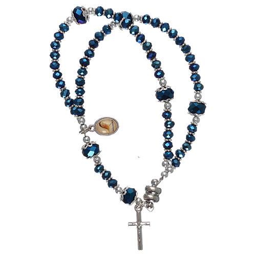Pulsera azul Medjugorje cristal y metal con cruz y medalla 1