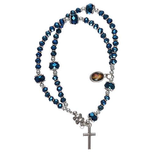 Bracciale blu Medjugorje cristallo e metallo con croce e medaglia 2