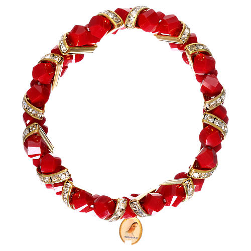 Bracciale rosso Medjugorje in vetro 1