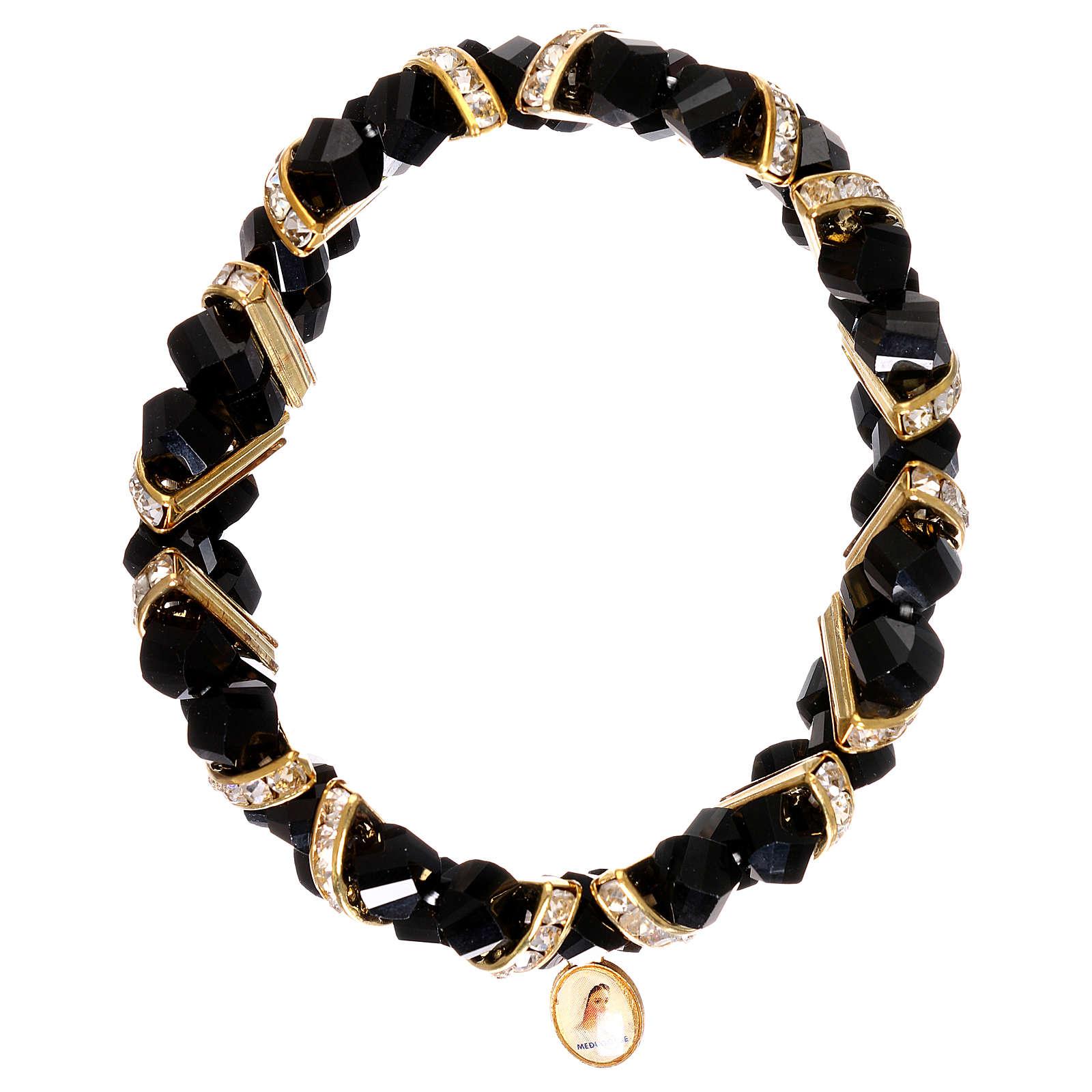 Bracelet noir Medjugorje en verre 4