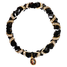 Bracelet noir Medjugorje en verre s2