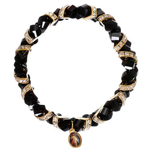 Bracelet noir Medjugorje en verre 2