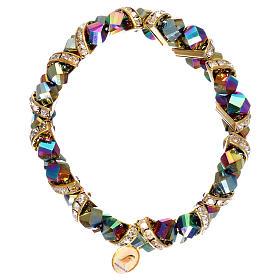 Bracelets, dizainiers: Bracelet aurore boréale Medjugorje en verre