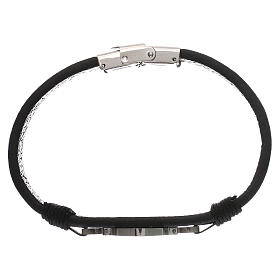 Bracelets, dizainiers: Bracelet Medjugorje médaille St Benoît en cuir noir