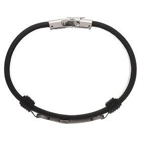 Bracelets, dizainiers: Bracelet Medjugorje cuir noir croix argentée