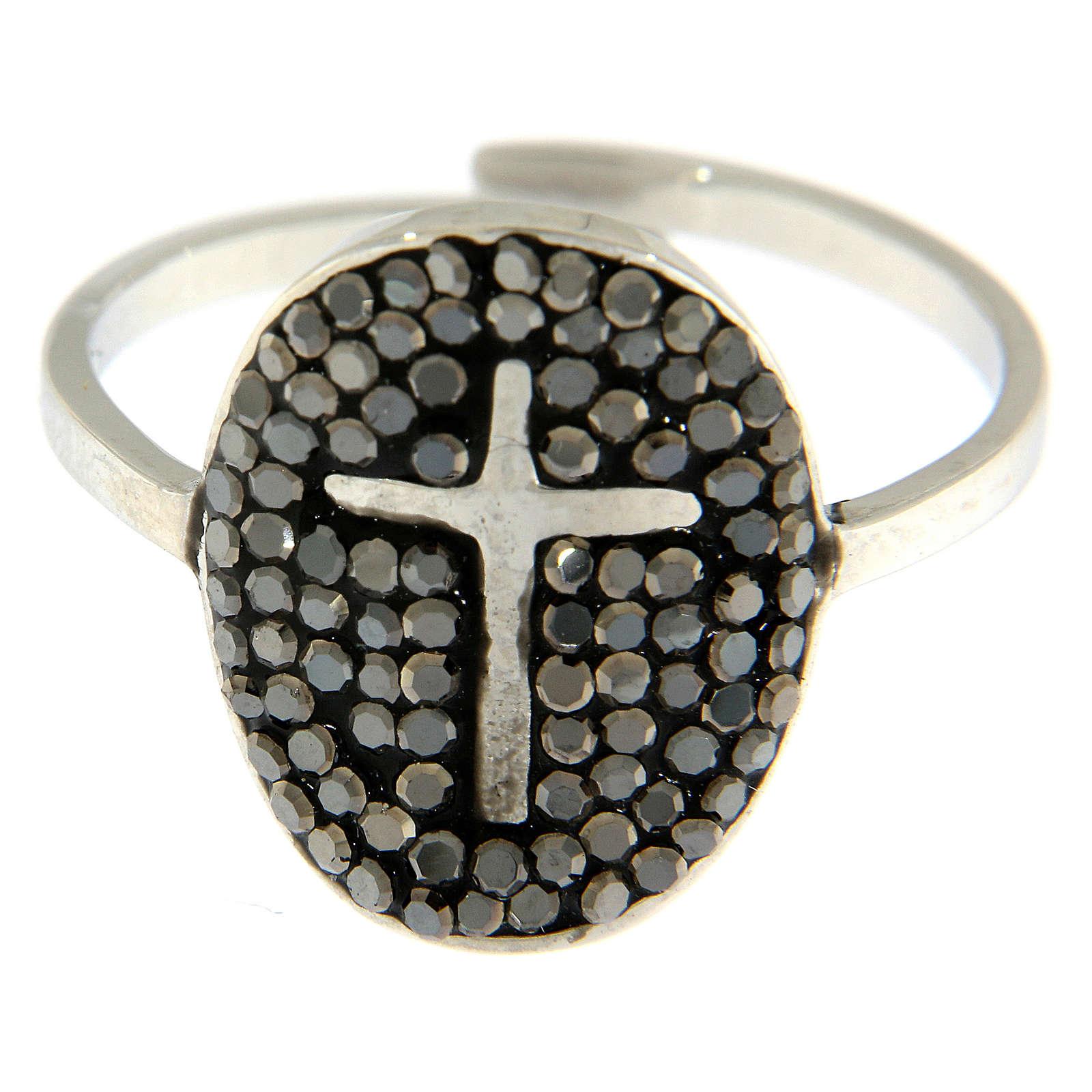Bague Medjugorje acier argenté avec cristaux noirs 4