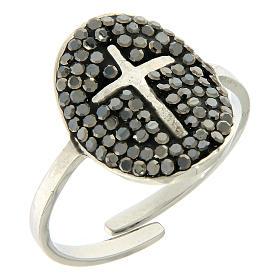 Bracelets, dizainiers: Bague Medjugorje acier argenté avec cristaux noirs