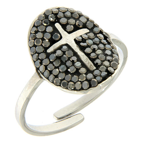 Bague Medjugorje acier argenté avec cristaux noirs 1