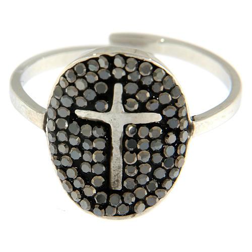 Bague Medjugorje acier argenté avec cristaux noirs 2