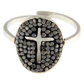 Anello Medjugorje acciaio argentato con brillantini neri s2