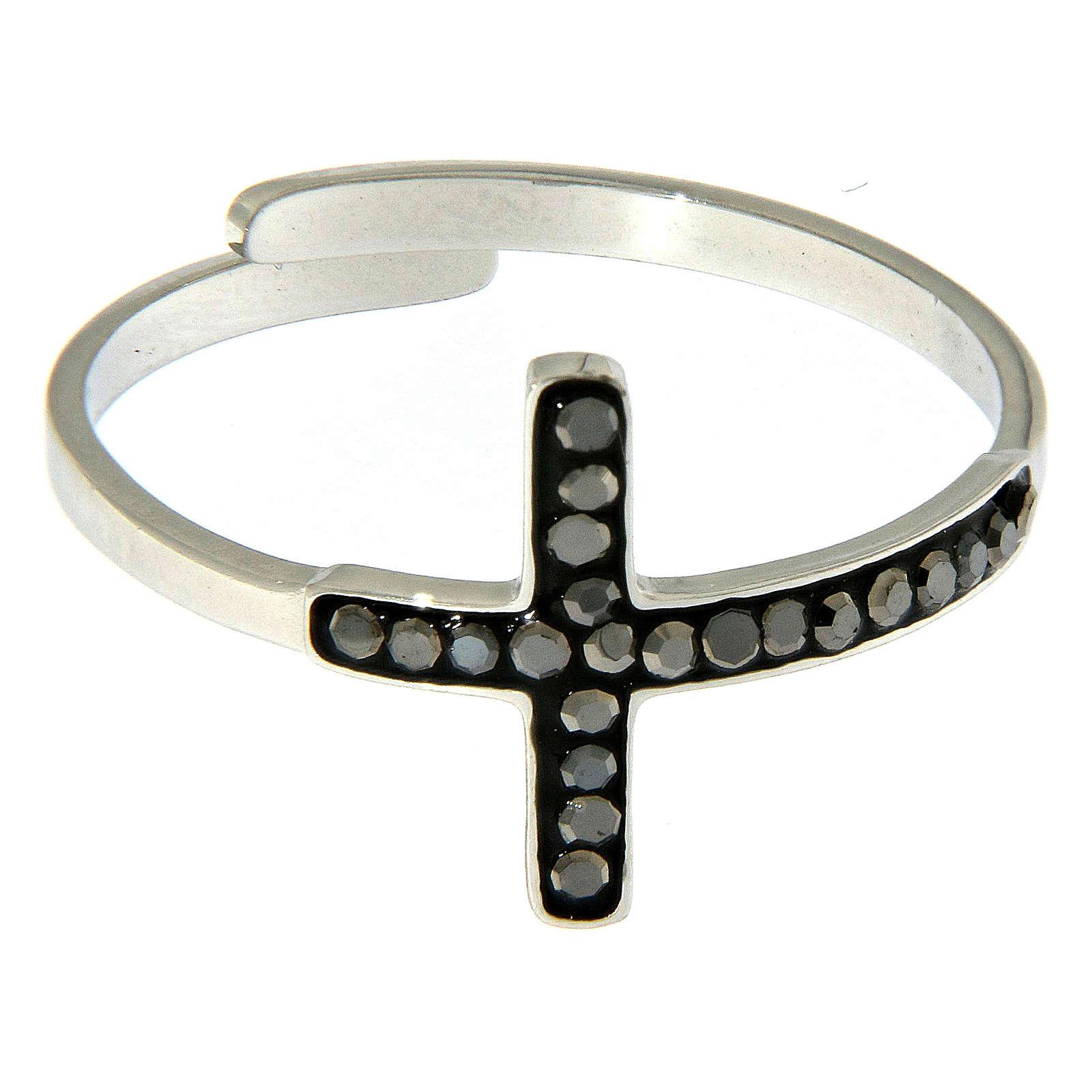 Anello Medjugorje acciaio argentato croce nera 4