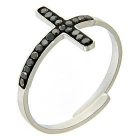 Anello Medjugorje acciaio argentato croce nera s1