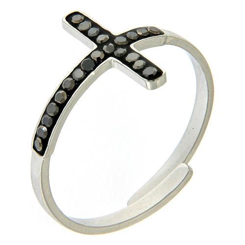 Anello Medjugorje acciaio argentato croce nera 1