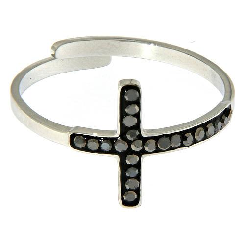 Anello Medjugorje acciaio argentato croce nera 2