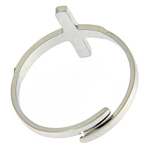 Anello Medjugorje acciaio argentato croce nera 3