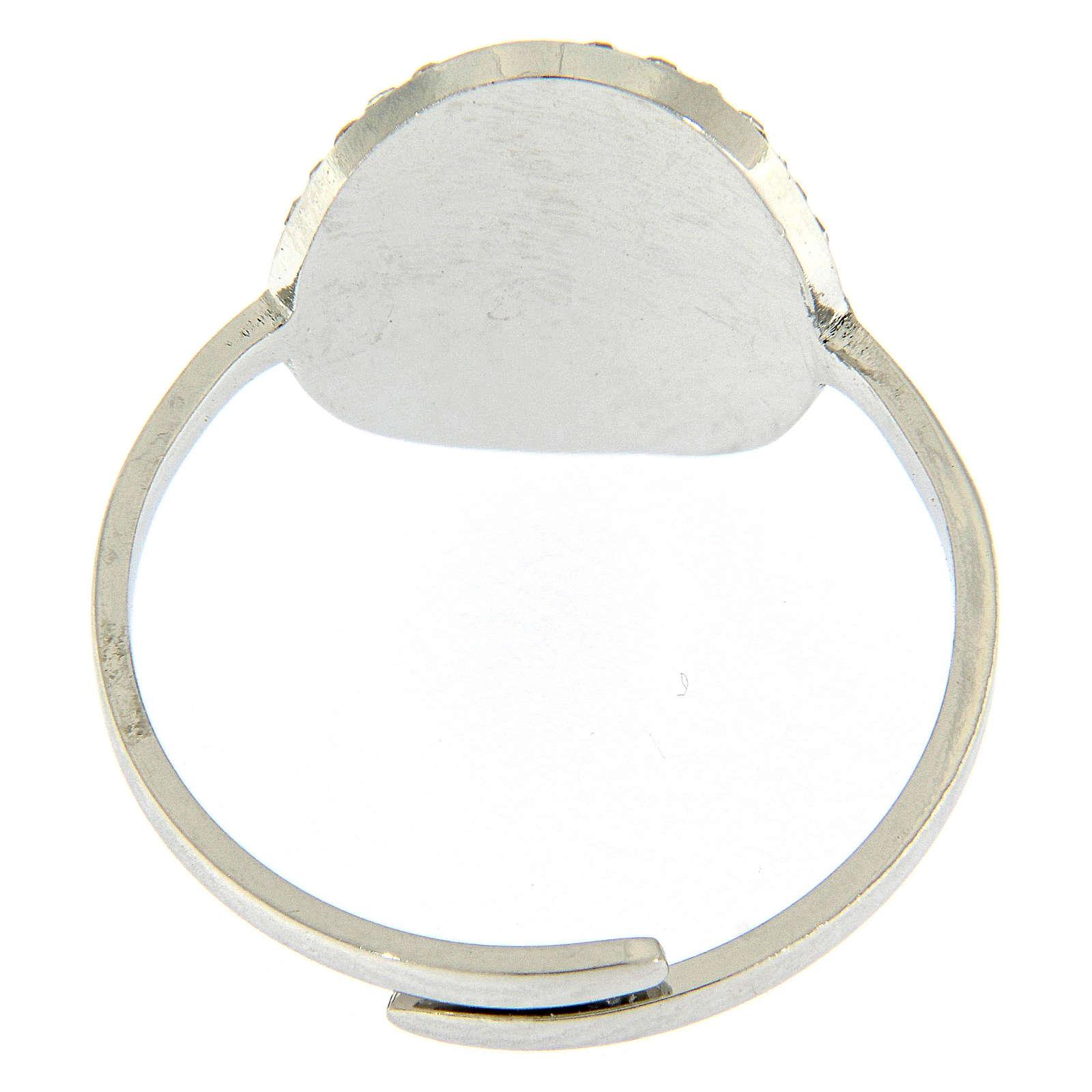 Bague Medjogorje acier argenté croix sur fond cristaux blancs 4