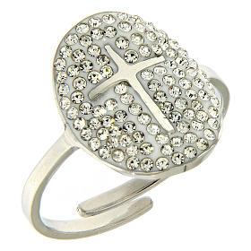 Bracelets, dizainiers: Bague Medjogorje acier argenté croix sur fond cristaux blancs