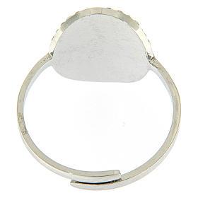Bague Medjogorje acier argenté croix sur fond cristaux blancs s3