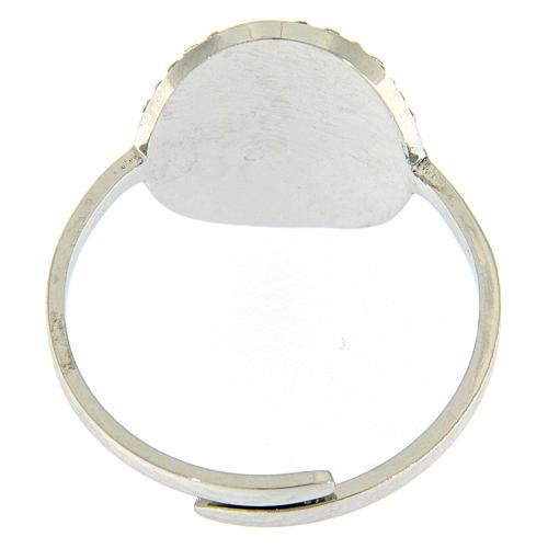 Bague Medjogorje acier argenté croix sur fond cristaux blancs 3