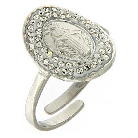 Bracelets, dizainiers: Bague Medjogorje acier argenté croix sur fond cristaux noirs