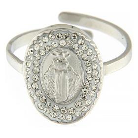 Anello acciaio argentato Madonna Medjugorje s2