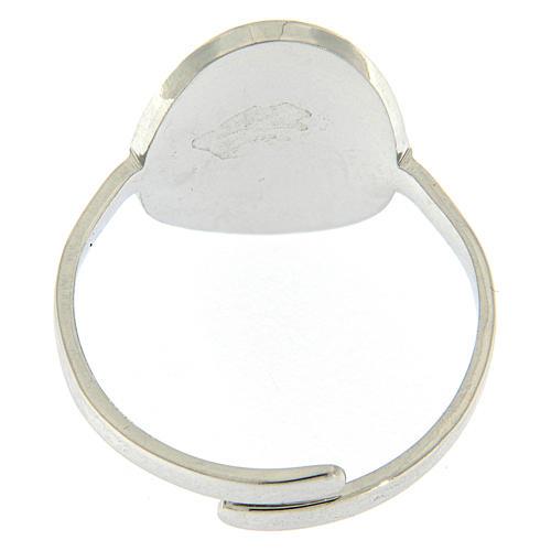 Anello acciaio argentato Madonna Medjugorje 3