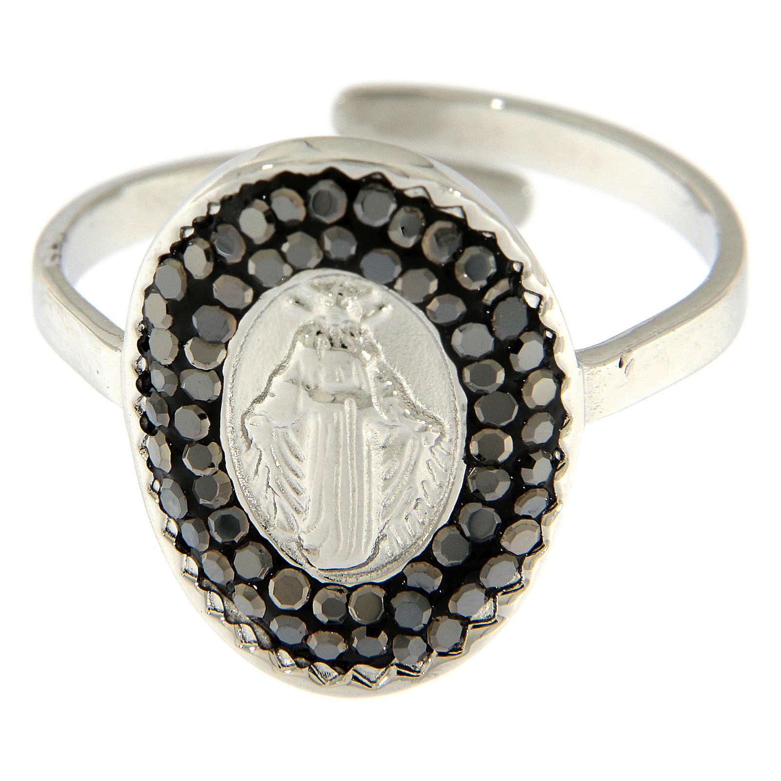 Bague acier argenté Notre-Dame Medjugorje cristaux noirs 4