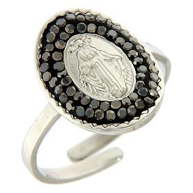 Bracelets, dizainiers: Bague acier argenté Notre-Dame Medjugorje cristaux noirs