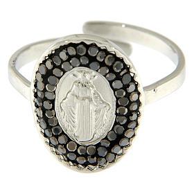 Bague acier argenté Notre-Dame Medjugorje cristaux noirs s3