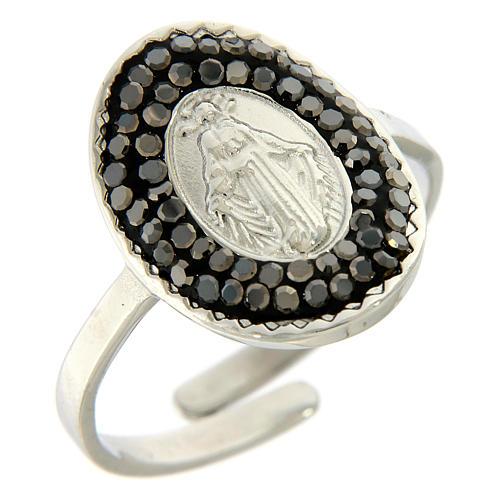 Bague acier argenté Notre-Dame Medjugorje cristaux noirs 1