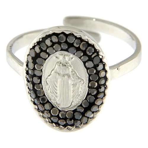 Bague acier argenté Notre-Dame Medjugorje cristaux noirs 3