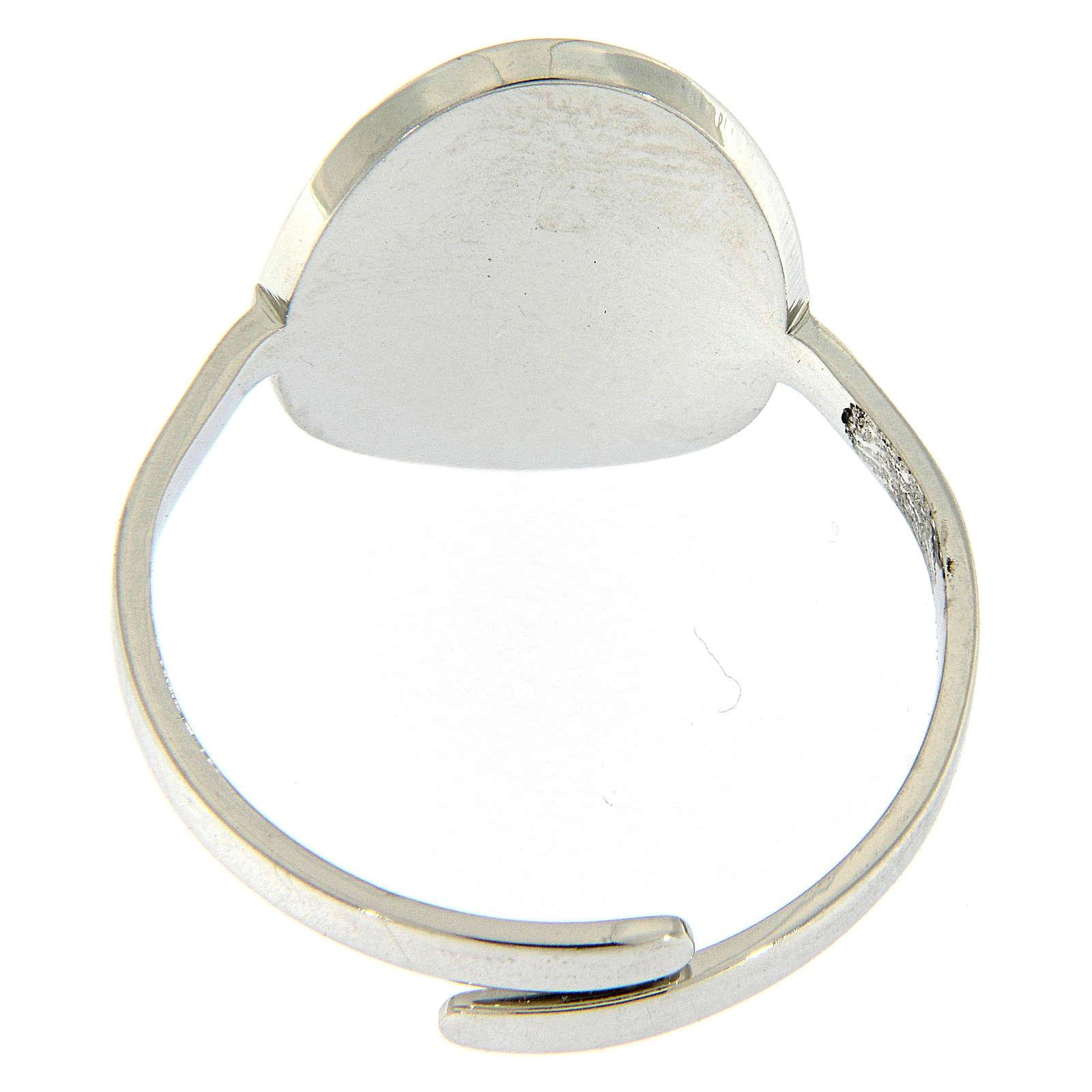 Anello acciaio argentato madonna Medjugorje brillantini neri 4