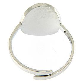 Anello acciaio argentato madonna Medjugorje brillantini neri s2