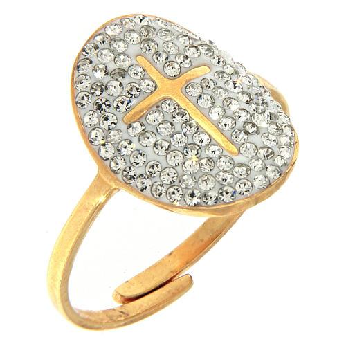Anello Medjugorje acciaio dorato croce dorata brillantini trasparenti 1
