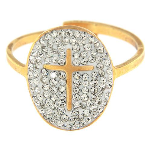 Anello Medjugorje acciaio dorato croce dorata brillantini trasparenti 2