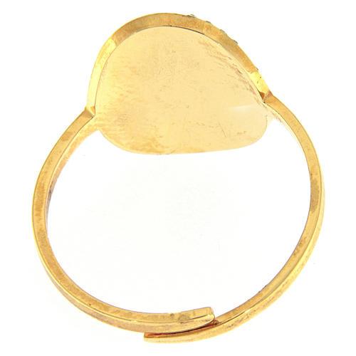 Anello Medjugorje acciaio dorato croce dorata brillantini trasparenti 3
