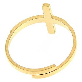 Bague Medjugorje acier doré croix argentée s3