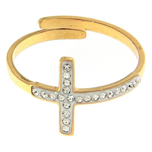 Bague Medjugorje acier doré croix argentée 2