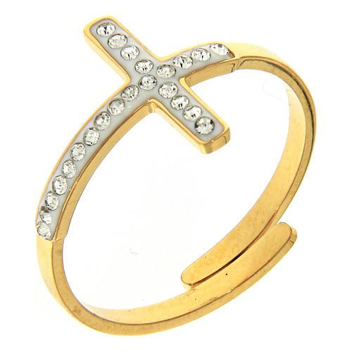 Anello Medjugorje acciaio dorato croce argentata 1