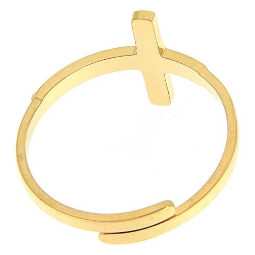 Anello Medjugorje acciaio dorato croce argentata 3