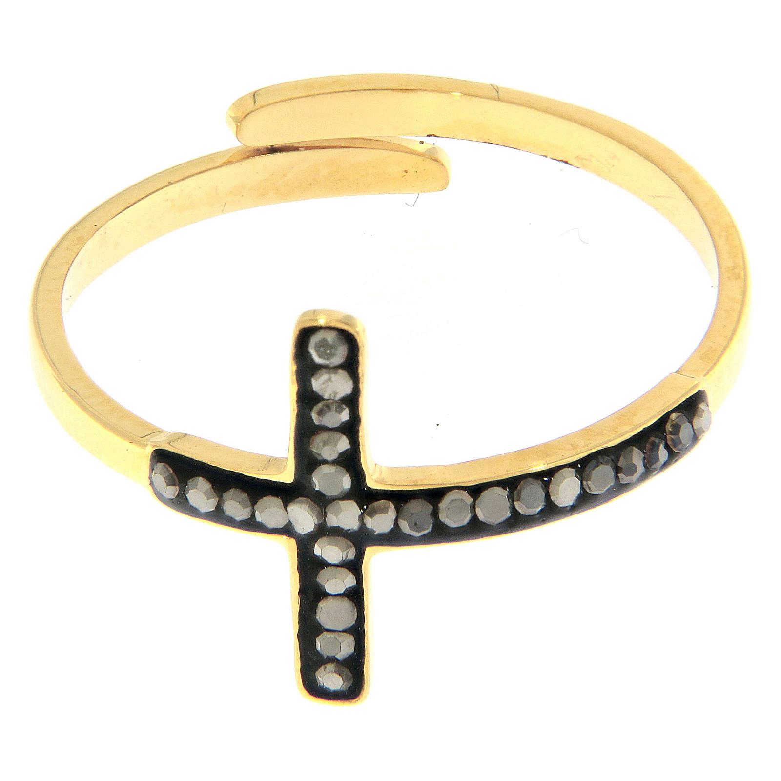 Bague Medjogorje acier doré croix noire 4