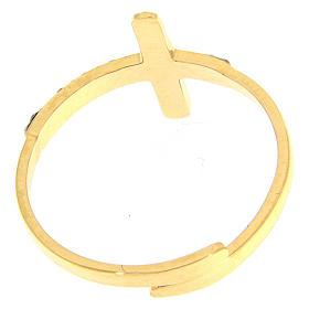 Anello Medjugorje acciaio dorato croce nera s3