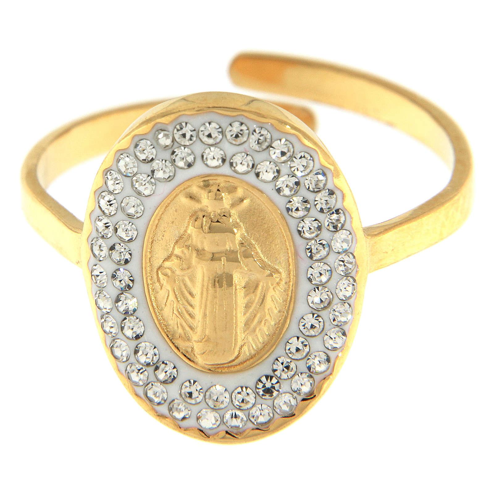 Anello acciaio dorato Madonna Medjugorje dorata 4
