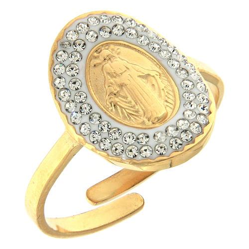 Anello acciaio dorato Madonna Medjugorje dorata 1